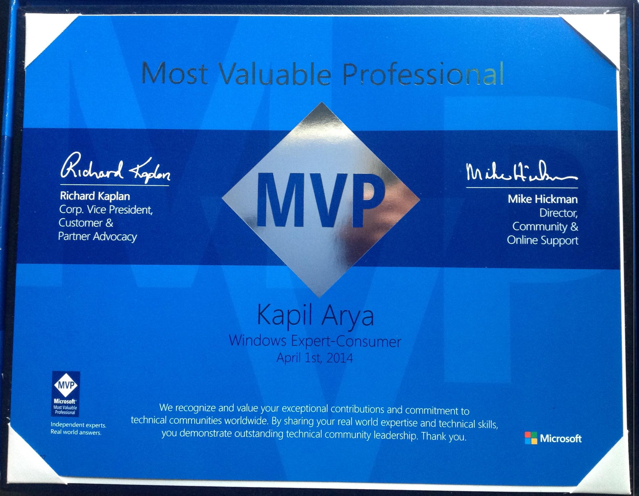 MVP Certification 2014