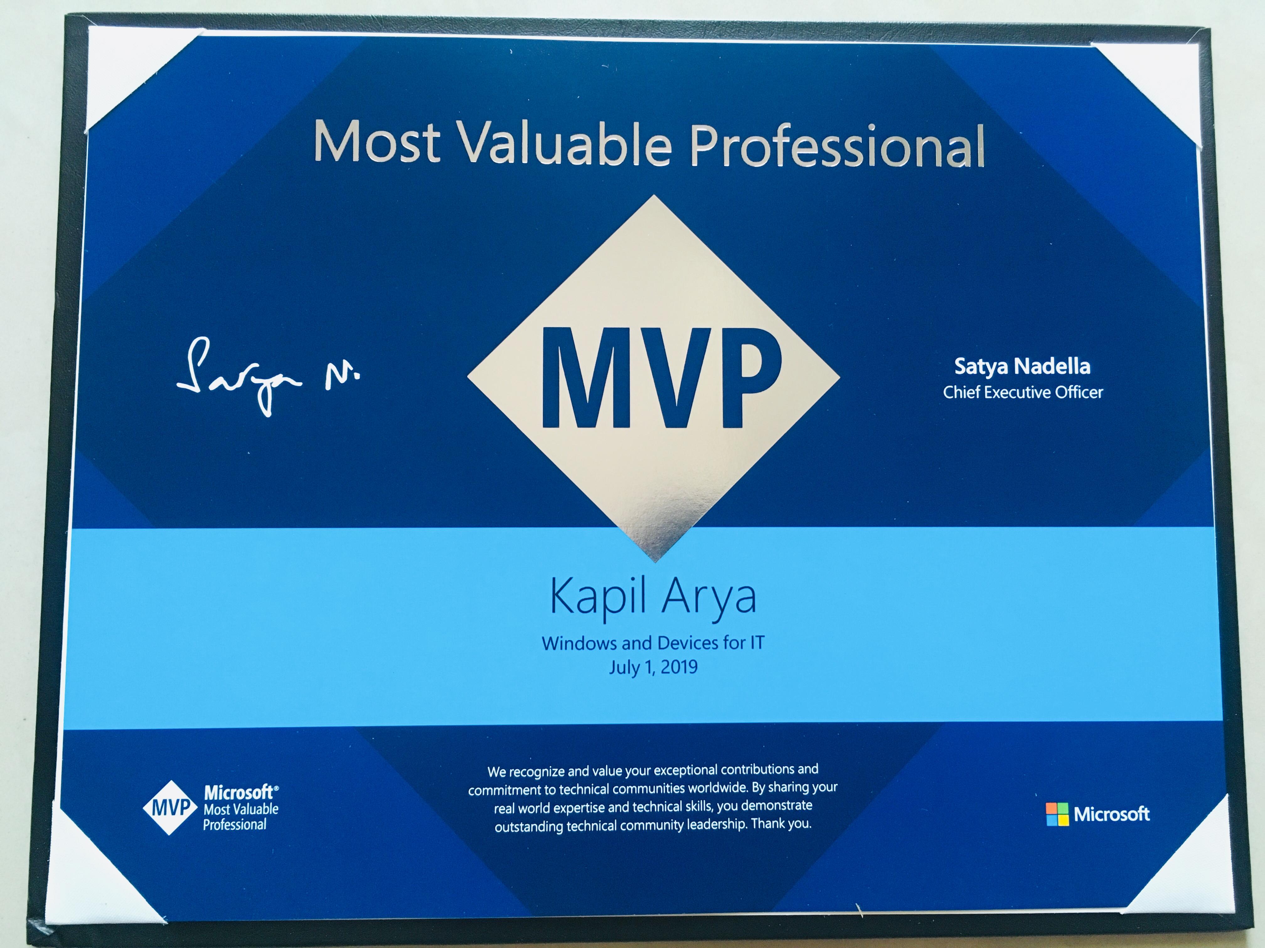 MVP Certification 2019